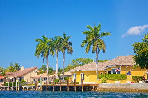Pompano Beach「Small colorful houses with palm trees along the Intracoastal in Pompano Beach」:スマホ壁紙(9)