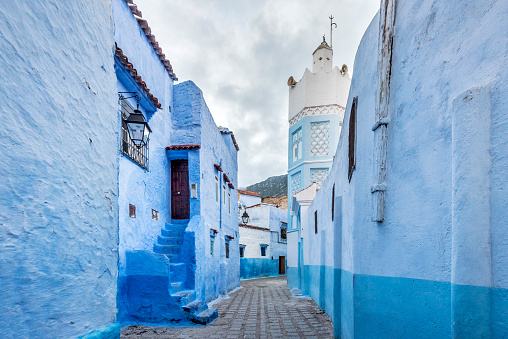 Morocco「Small colorful streets in Medina of Chefchaouen」:スマホ壁紙(14)