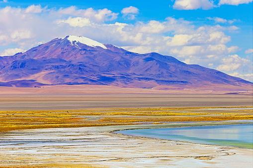 Steppe「Idyllic Salar de Tara blue lagoon reflection, salt marsh - Idyllic Atacama Desert altiplano, dreamlike landscape panorama – San Pedro de Atacama, Chile, Bolívia and Argentina border」:スマホ壁紙(19)