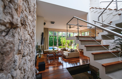 Buenos Aires「Spacious Modern Home Interior with Stairs to Second Floor」:スマホ壁紙(2)