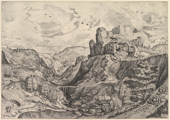 Etching「Alpine Landscape With A Deep Valley From The Large Landscapes」:写真・画像(5)[壁紙.com]