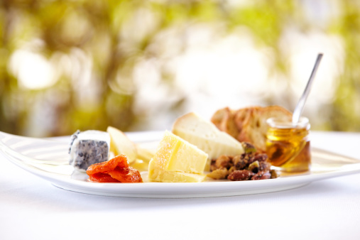 Cheese Board「Fancy cheese plate with bread and honey outdoors」:スマホ壁紙(19)