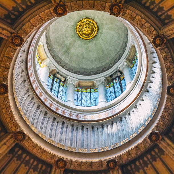 Surreal view of geometric shapes of cupola ceiling architecture of french Ars-Sur-Formans Basilica famous religious church for pilgrims:スマホ壁紙(壁紙.com)