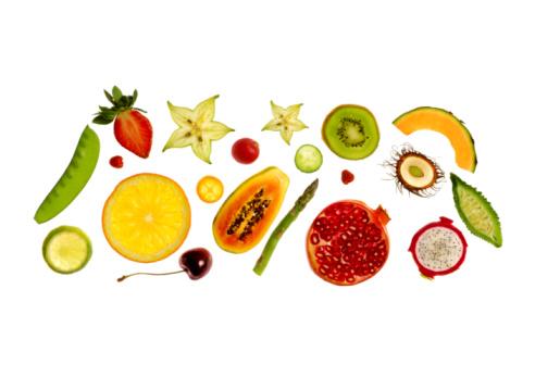 Kiwi「Fresh fruit and vegetables on white background.」:スマホ壁紙(13)