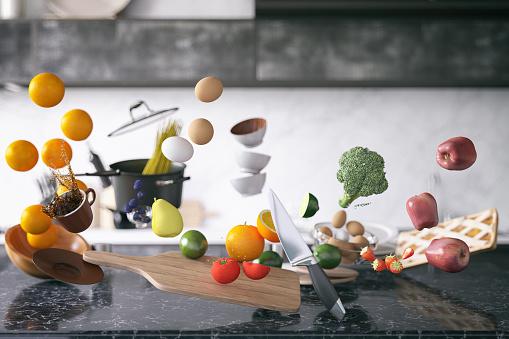 Preparing Food「Zero Gravity in Kitchen」:スマホ壁紙(16)