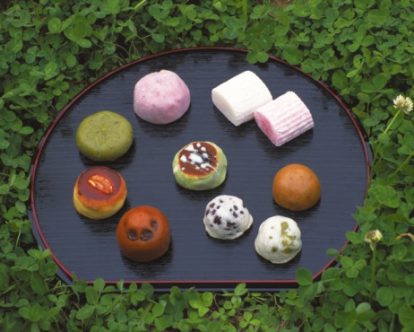 Wagashi「Wagashi, Various Japanese sweets on plate in bush, high angle view」:スマホ壁紙(16)