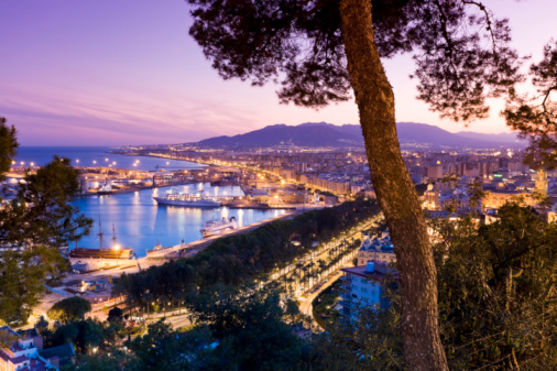 Málaga - Málaga Province「Spain, Malaga, Port at night」:スマホ壁紙(9)
