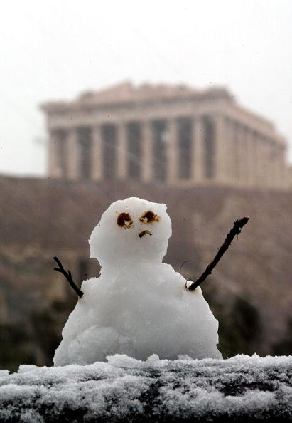 雪だるま「Athens Is Hit By Rare Snowfall  」:写真・画像(12)[壁紙.com]