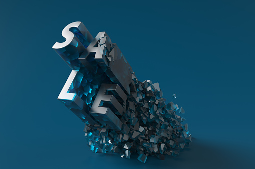 Credit Card Purchase「The glass word SALE breaking to pieces on the blue floor. 3d render illustration.」:スマホ壁紙(8)