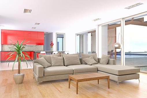 Fashion「Modern and bright living room interior in modern villa」:スマホ壁紙(8)