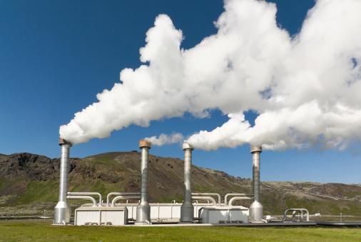 Generator「4 steel chimneys with smoke from geothermal energy」:スマホ壁紙(5)