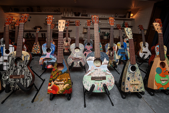 Musical instrument「Decorated Instruments Belonging To The Ukulele Orchestra of Great Britain Are Displayed Ahead Of Charity Concert」:写真・画像(8)[壁紙.com]