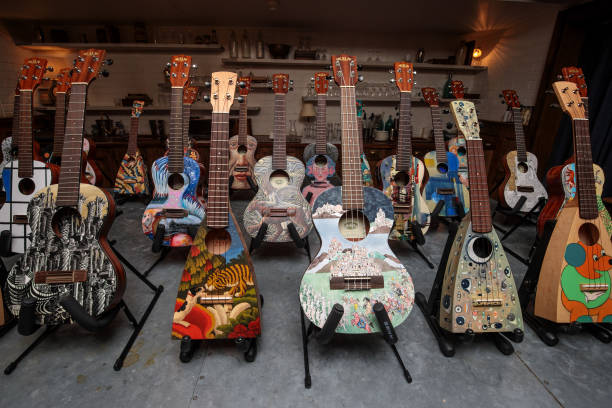 Decorated Instruments Belonging To The Ukulele Orchestra of Great Britain Are Displayed Ahead Of Charity Concert:ニュース(壁紙.com)