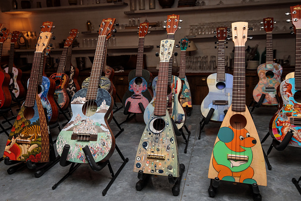 Musical instrument「Decorated Instruments Belonging To The Ukulele Orchestra of Great Britain Are Displayed Ahead Of Charity Concert」:写真・画像(5)[壁紙.com]