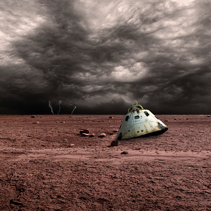 Lost「A scorched space capsule lies abandoned on a barren world. Storm clouds and lightning are in the background.」:スマホ壁紙(13)