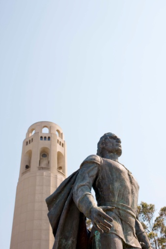 Christopher Columbus - Explorer「Statue by Coit Tower, San Francisco, California」:スマホ壁紙(2)