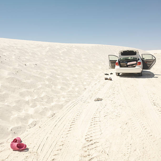 USA, New Mexico, car parked on sand dune, rear view:スマホ壁紙(壁紙.com)