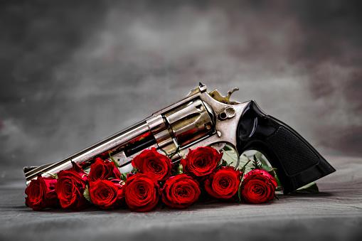 ラブ「銃とバラ」:スマホ壁紙(18)