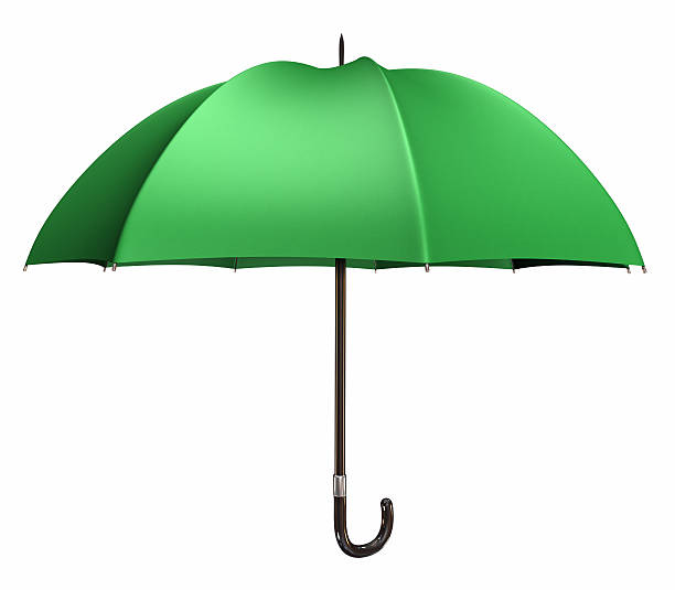 Isolated green umbrella with black handle:スマホ壁紙(壁紙.com)