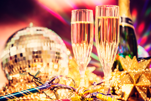 January「New Year's Eve holiday party with champagne, disco ball, decorations.」:スマホ壁紙(5)