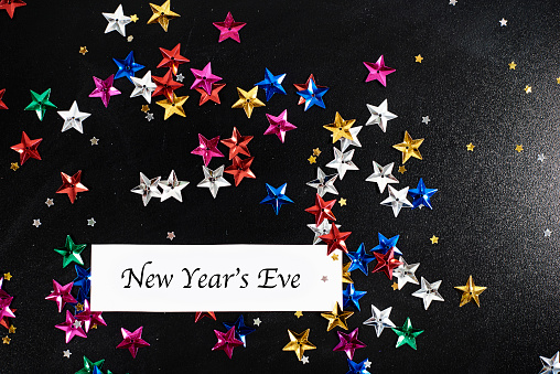 New Year「New Years Eve lettering around confetti stars. Debica, Poland」:スマホ壁紙(10)