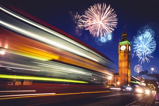お正月「お祝い事や花火 - ロンドンの大晦日」:スマホ壁紙(17)