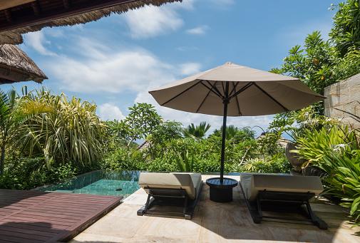 リゾート地「座席と緑の植物がプールの近くの傘」:スマホ壁紙(0)