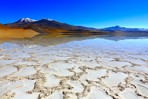 Atacama Region「Laguna - Lake Tuyacto and Miniques snowcapped Volcano - Turquoise lake salt mirrored reflection and Idyllic Atacama Desert, Volcanic landscape panorama – San Pedro de Atacama, Chile, Bolívia and Argentina border」:スマホ壁紙(18)