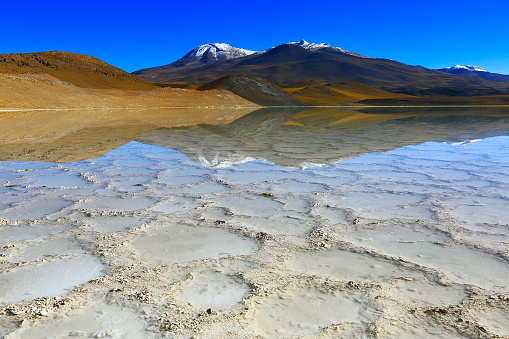 Atacama Region「Laguna - Lake Tuyacto and Miniques snowcapped Volcano - Turquoise lake salt mirrored reflection and Idyllic Atacama Desert, Volcanic landscape panorama – San Pedro de Atacama, Chile, Bolívia and Argentina border」:スマホ壁紙(5)