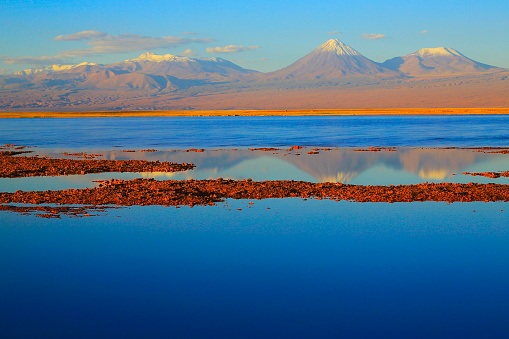 Bolivian Andes「Laguna - Lake Tebinquiche, Licancabur and Juriques Volcanoes at gold colored sunset - Turquoise lake reflection and Idyllic Atacama Desert, Volcanic landscape panorama – San Pedro de Atacama, Chile, Bolívia and Argentina border」:スマホ壁紙(11)