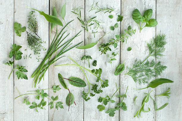 Different fresh herbs on white wood:スマホ壁紙(壁紙.com)