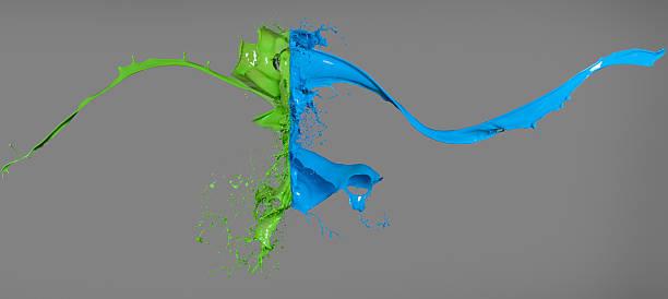 Green and blue paint colliding:スマホ壁紙(壁紙.com)