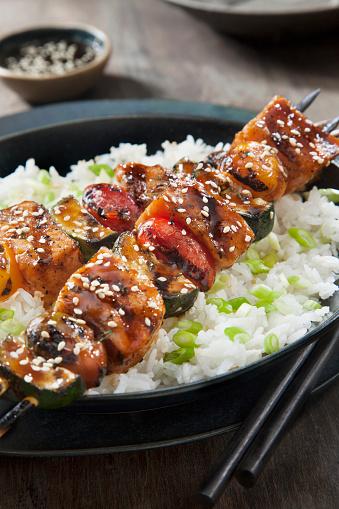 Basmati Rice「BBQ Teriyaki Glazed Salmon Skewers with Zucchini, Tomatoes and Rice」:スマホ壁紙(13)