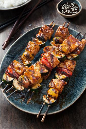 Basmati Rice「BBQ Teriyaki Glazed Salmon Skewers with Zucchini, Tomatoes and Rice」:スマホ壁紙(17)