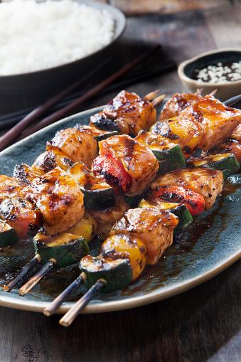 Jasmine Rice「BBQ Teriyaki Glazed Salmon Skewers with Zucchini, Tomatoes and Rice」:スマホ壁紙(4)