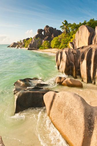 Frond「Seychelles Anse Source d'Argent paradise palm fringed beach La Digue」:スマホ壁紙(6)