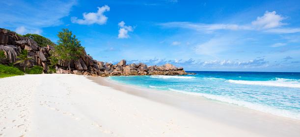 ビーチ「Seychelles, La Digue, beach, panorama」:スマホ壁紙(14)