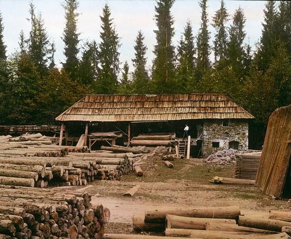 Construction Material「Lumberyard in the Hoellental valley. Lower Austria. Hand-colored lantern slide. 1909.」:写真・画像(11)[壁紙.com]