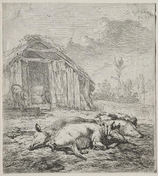 Creativity「Three Swine Lying In Front Of A Sty. Creator: Karel Dujardin (Dutch」:写真・画像(2)[壁紙.com]