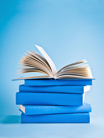 Blue Background「Opened book on top of stack of blue books, knowledge」:スマホ壁紙(6)