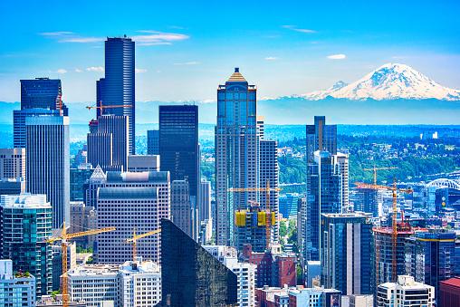 Seattle「Downtown Seattle Skyline Aerial」:スマホ壁紙(17)