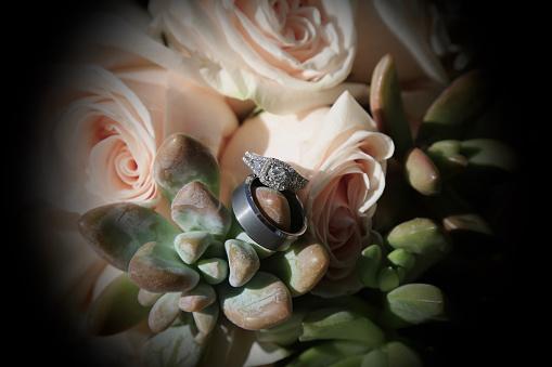 Rose - Flower「Wedding rings among bouquet with roses and desert plant」:スマホ壁紙(10)