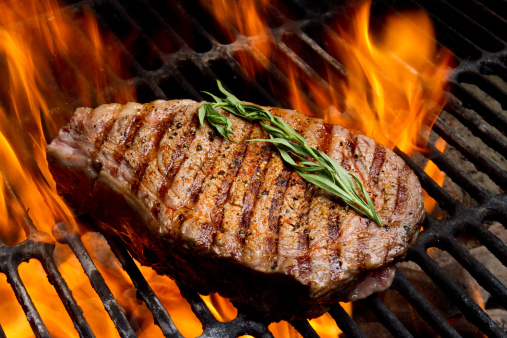 Barbecue Grill「Ribeye Steak on Grill with Fire」:スマホ壁紙(1)