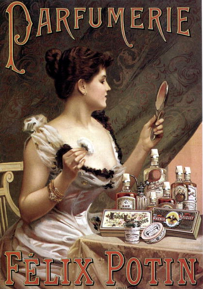 Bathroom「Woman with toilet accessories and perfume scent perfumery ad advert by Felix Potin c. 1900」:写真・画像(9)[壁紙.com]