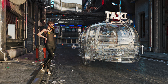 Cyber-「Woman with gas mask in futuristic cyber punk city streets with driverless taxi」:スマホ壁紙(5)