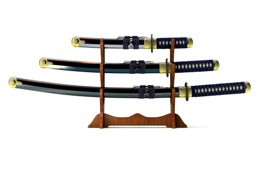 Art And Craft「Three Japanese Katanas on White Background (XXXL)」:スマホ壁紙(9)