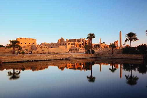 Ancient Civilization「Egypt, Luxor, Nile River, Karnak Temple reflecting on Sacred Lake」:スマホ壁紙(2)