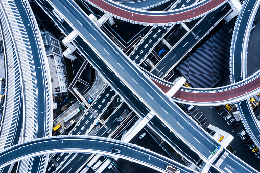 City Life「Aerial shooting in the junction area.A highway in Japan.」:スマホ壁紙(2)