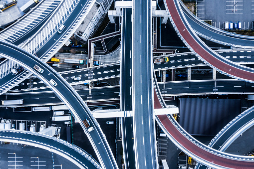 Elevated Road「Aerial shooting in the junction area.A highway in Japan.」:スマホ壁紙(9)