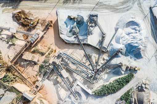 Earth Mover「Aerial shooting at the construction site.Landfilling work.」:スマホ壁紙(15)